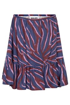 Girls Purple Zebra Stripe Viscose Skirt