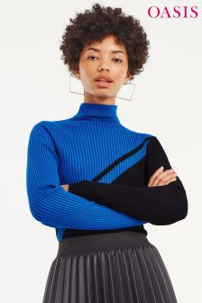 Oasis Black Diana Colourblock Funnel Neck