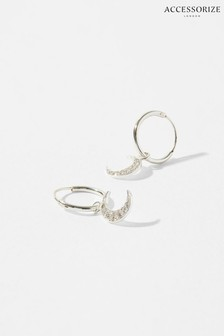 Accessorize Sterling Silver Sparkle Moon Earrings