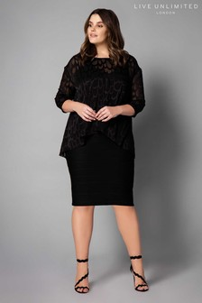Live Unlimited Black Feather Burnout Over-Layer Dress