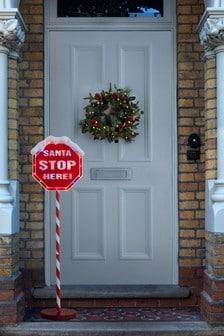 Outdoor Santa Stop Here Sign