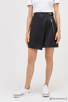 Warehouse Faux Leather Wrap Skirt