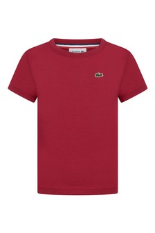 Lacoste Kids Boys Cotton Burgundy Short Sleeve T-Shirt