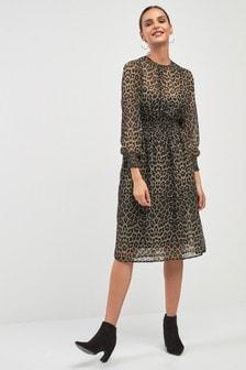 Sukienka średniej długości z gładkim nadruk