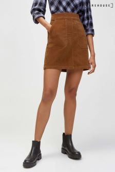 Warehouse Tan Cord Pocket Detail Skirt