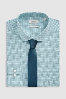 Slim Fit Single Cuff Print Shirt With Tie
