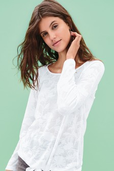 Pointelle Floral Top