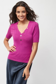 Button V-Neck Tee