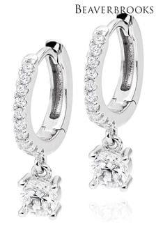 Beaverbrooks Silver Cubic Zirconia Hoop Earrings