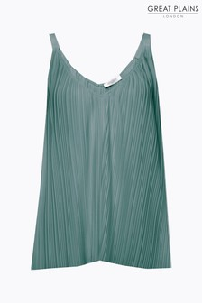 Great Plains Green Paola Pleat Strappy Cami Top