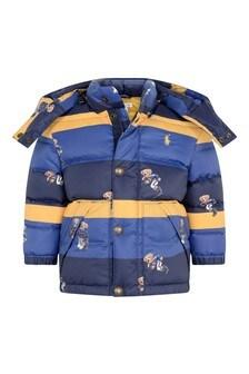 Baby Boys Blue Striped Bear Jacket