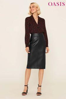 Oasis Black Leather Look Pencil Skirt
