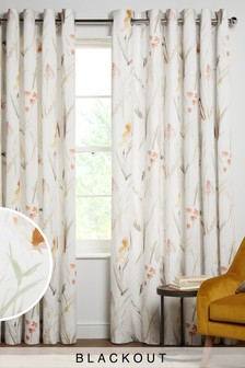 Pink/Green Watercolour Floral Blackout/Thermal Eyelet Curtains