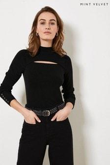 Mint Velvet Black Cut-Out Slim Knitted Top