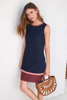 bd1312abb3 Colourblock Linen Blend Shift Dress