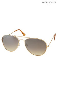 Accessorize Gold Chantal Aviator Sunglasses