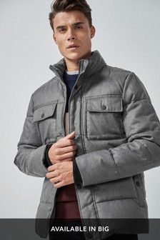 Herringbone Quilted Funnel Jacket