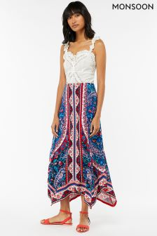 Monsoon Blue Amanda Print Maxi Skirt
