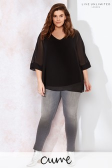 Live Unlimited Black Chiffon Overlay Top