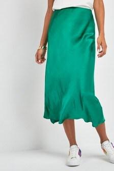 Satin Midi Skirt