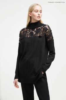 French Connection Black High Neck Lace Jumper