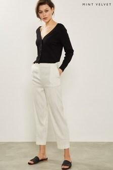 Mint Velvet Stripe Paperbag Waist Trouser