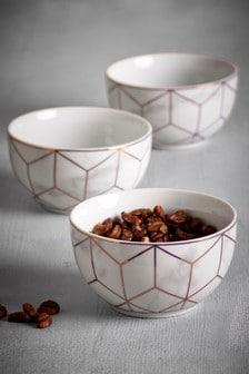 Dip-Schalen in Marmoroptik, 3er-Set, roségoldfarben