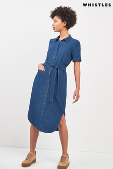 Whistles Montana Linen Mix Longline Dress