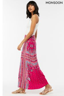 Monsoon Pink Patsy Print Maxi Skirt
