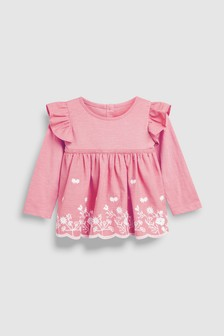 Long Sleeve Broderie Top (3mths-7yrs)
