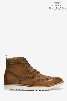 Modern Heritage Wedge Sole Leather Brogue Boots