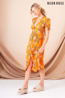 Neon Rose Orange Chloe Button Front Midi Dress