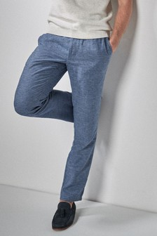 Linen Blend Slim Fit Chino Trousers