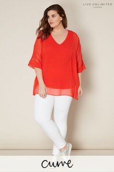 Live Unlimited Orange Chiffon Overlay Top