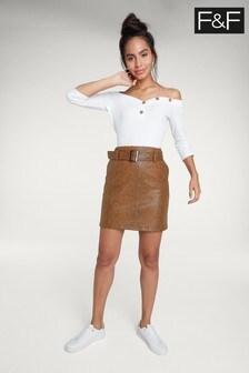F&F Multi Snake Print PU Mini Skirt