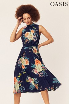 Oasis Blue Botanical Plate Chiffon Midi Dress
