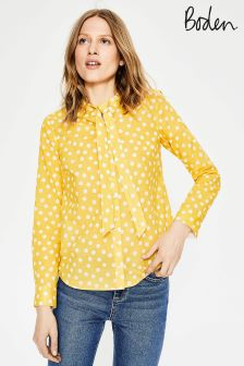 Boden Yellow Tie Neck Shirt