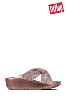 8889a630fb8 FitFlop™ Pink Ruche Twist Grace Slide Crystal Sandal