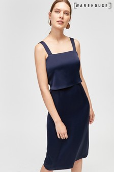 Warehouse Blue Double Layer Satin Dress