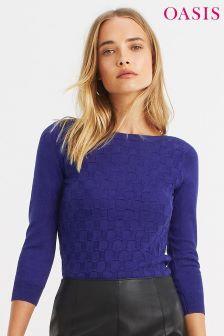 Oasis Rich Blue Tiffany Textured Jumper