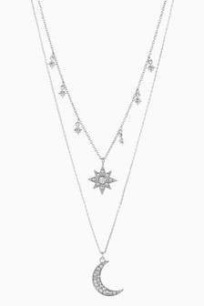 Multi Layer Star Moon Necklace