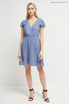 French Connection Blue Agata Georgette Belted Wrap Dress