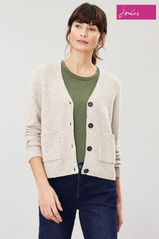 Joules Cream Laura Short V-Neck Cardigan