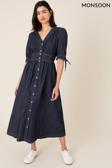 Monsoon Blue Dolly Denim Dress In Organic Cotton