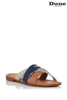 Dune London Brown Laural Colourblock Flat Sandals