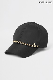 River Island Black Suedette Cap With Chain Trim