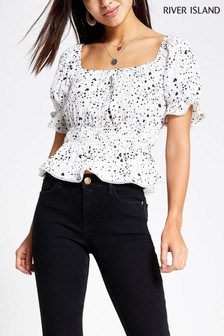 River Island White Short Sleeve Top