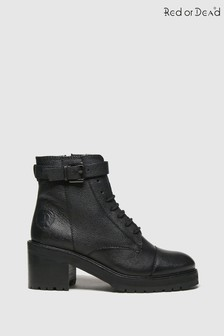 Red Or Dead Black Rakel Leather Lace Up Boots