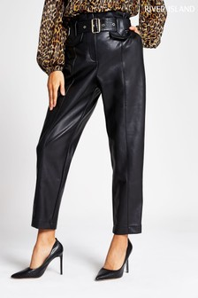 River Island Black PU Misha Peg Trousers