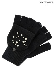 Accessorize Black Pearl Capped Gloves